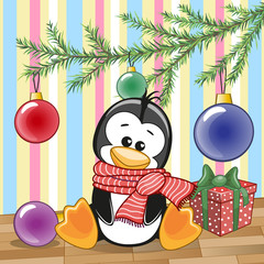 Penguin under the tree