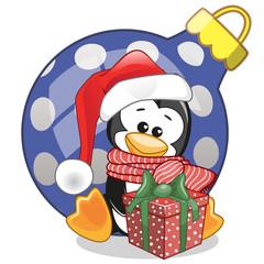 Penguin in a Santa hat