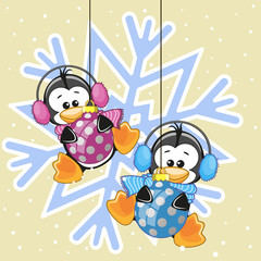 Two Penguins in a fur headphones