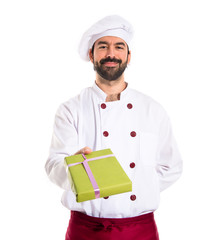 Chef giving a present