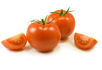 Isolated image of tomatoes on a white background