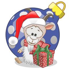 Goat in a Santa hat