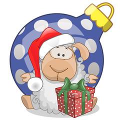 Sheep in a Santa hat