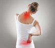 Leinwanddruck Bild - Spine osteoporosis. Spinal cord problems on woman's back