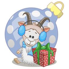 Goat in a fur headphones