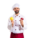 Chef holding apples