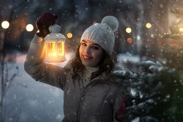 Cute girl with a lantern