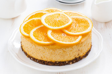 whole orange cheesecake, top view