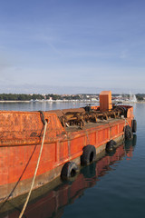 Old red ship for spill cargo