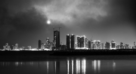 Night modern city skyline. Manama, the Capital of Bahrain