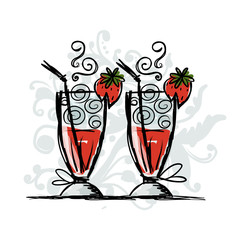 Cocktails with strawberry, sketch for your design