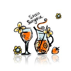 Sangria, spanish drink. Sketch for your design