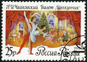 "RUSSIA - 1992: shows a scene from the ballet ""The Nutckracker"""