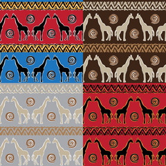 Set of Ethnic  tribal   Seamless Pattern with giraffe