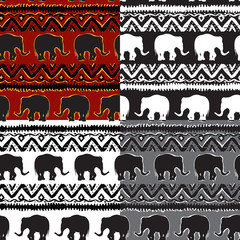 Set of Ethnic  tribal   Seamless Pattern with elephants