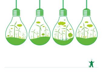 Wind turbine and nature in light bulb