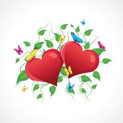 Cœurs sur feuillage