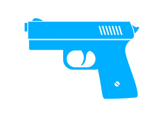 Blue gun icon on white background