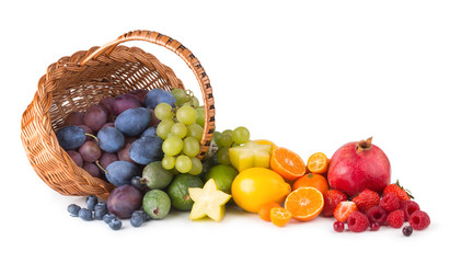 basket with ripe fesh fruits as a rainbow