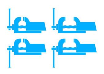 Blue vise icons on white background