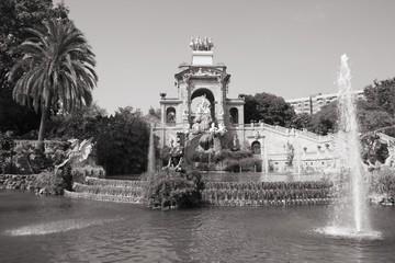 Barcelona - Ciutadella Park. Black and white photo.