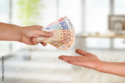 Leinwanddruck Bild Hand, Geld, Lohn, Auszahlung