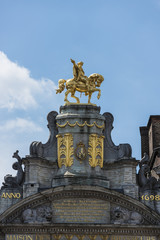Guildhalls on the Grand Place of Brussels in Belgium.