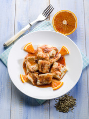 salted cod with orange juice and fennel seeds