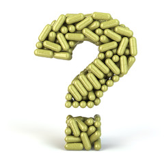 Herbal bio medicine pills or capsules as a question isolated on