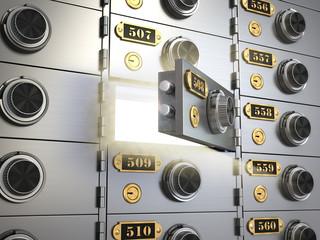 Safe deposit boxes in a bank vault. Banking concept.