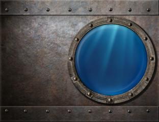 submarine or battleship porthole steam punk metal background