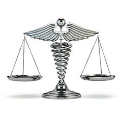 Medicine and justice. Caduceus symbol as scales. Conceptual imag