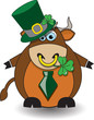 St Patricks Day Bull Wearing A Hat And Chewing On A Clover