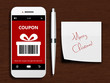 mobile phone with christmas coupon, pen and christmas wishes - 73834637