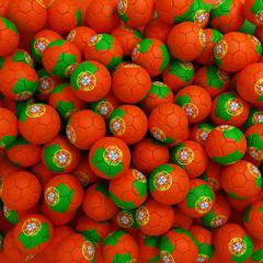 Portugal football balls (many). 3D render background