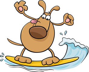 surfing dog cartoon illustration