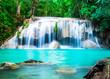 Leinwanddruck Bild - Waterfall in the Jungle at Kanchanaburi Province, Thailand