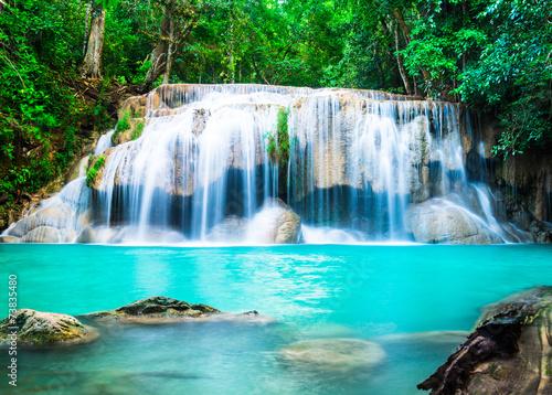 Leinwanddruck Bild Waterfall in the Jungle at Kanchanaburi Province, Thailand