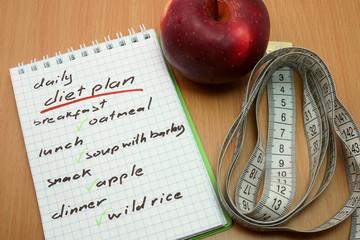 Daily diet plan.