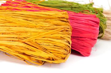 natural raffia of different colors