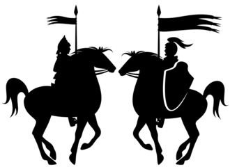 knight riding prancing horse black silhouette