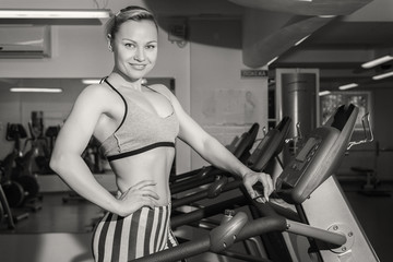 The beautiful blonde in the gym