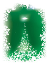 Magical christmas tree on green background