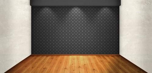 Empty room with black wallpaper