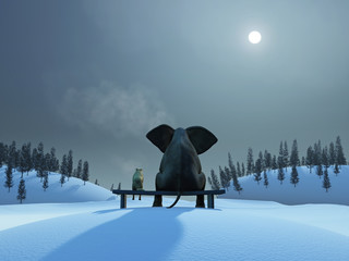 elephant and dog at Christmas night