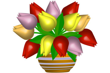 Kolorowe tulipany w wazonie - ilustracja