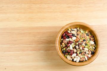 legumes on wood, closeup, background