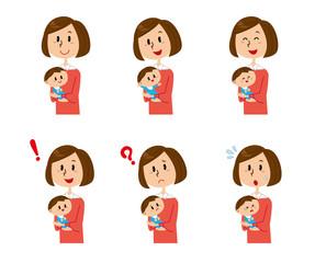 女性 赤ちゃん 表情