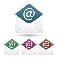 Email vector icon with envelope and shadow on a white background