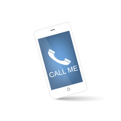White mobile phone with call me symbol on a clean background